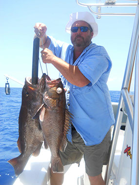 Two large Grouper being returned using the Fish Saver Device.